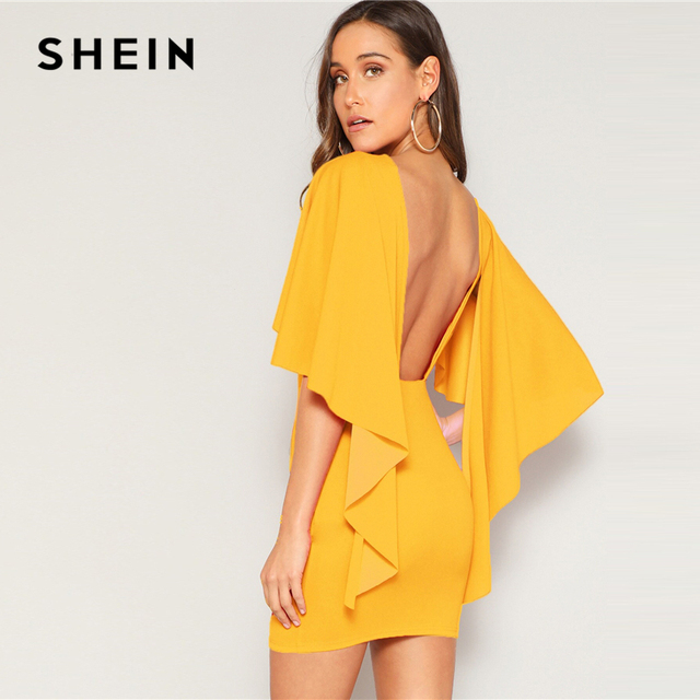 SHEIN Sexy Open Back Cloak Sleeve Summer Mini Dress Women Glamorous Round Neck Slim Fit Solid Night Out Party Dress 2