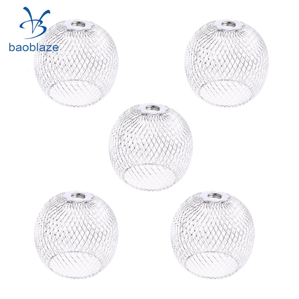 5Pcs Bulb Cage Modern Table Lamp Shade Circular Opening Process Lampshade Great for Bedroom Living Room