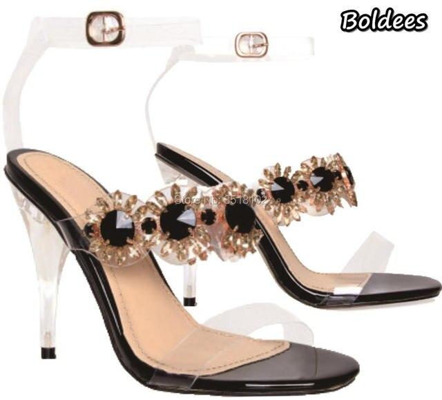 42bec067e81a BOLDEES Crystal Gladiator Women Sandals High Heels Sexy Rhinestone  Transparent Women clear heel Sandals Summer Women Pump Shoes
