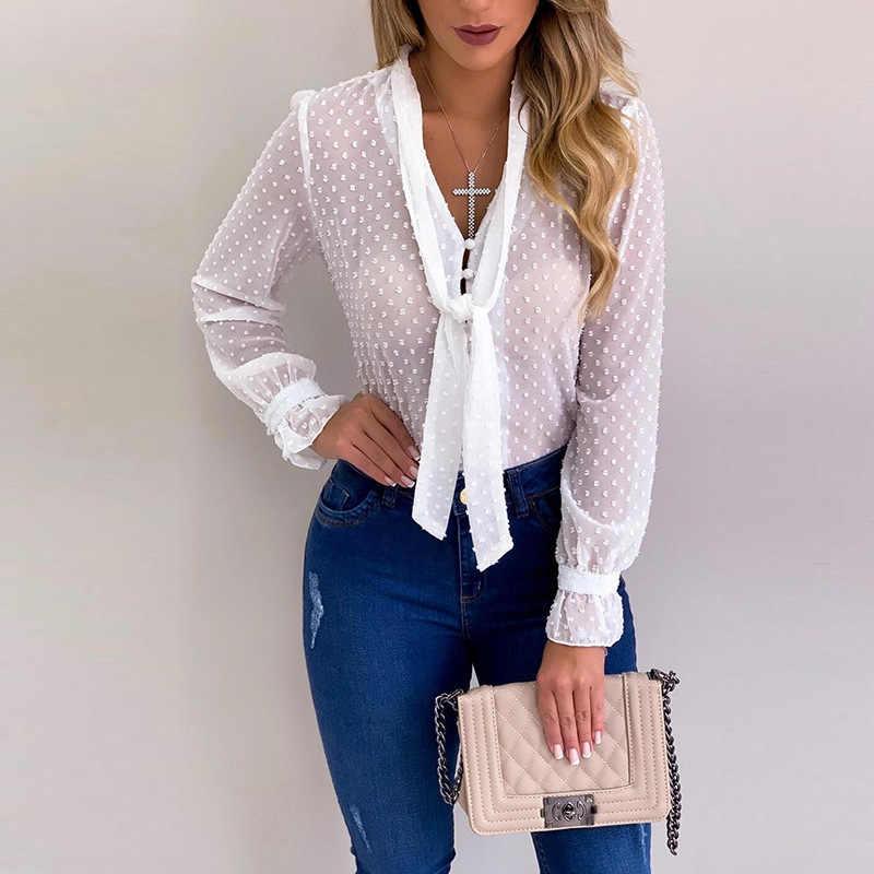 女性ブラウスドット V ネックエレガントなスリムカジュアルシャツ薄型オフィスレディースシフォン長袖夏女性 YF01976