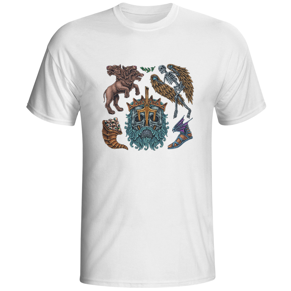 01c8003bf New Arrival Gods Pets T Shirt Tattoo Cerburus Hound Poseidon Fallen Angel  Fly Shoes Creative Novelty T-shirt Man Soft White Tee