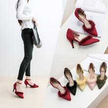 Spring&Autumn pointed toe sexy Pumps Flock 5cm/7cm/9cm Rabbit's hair high-heeled shoes woman party shoe size 33-41