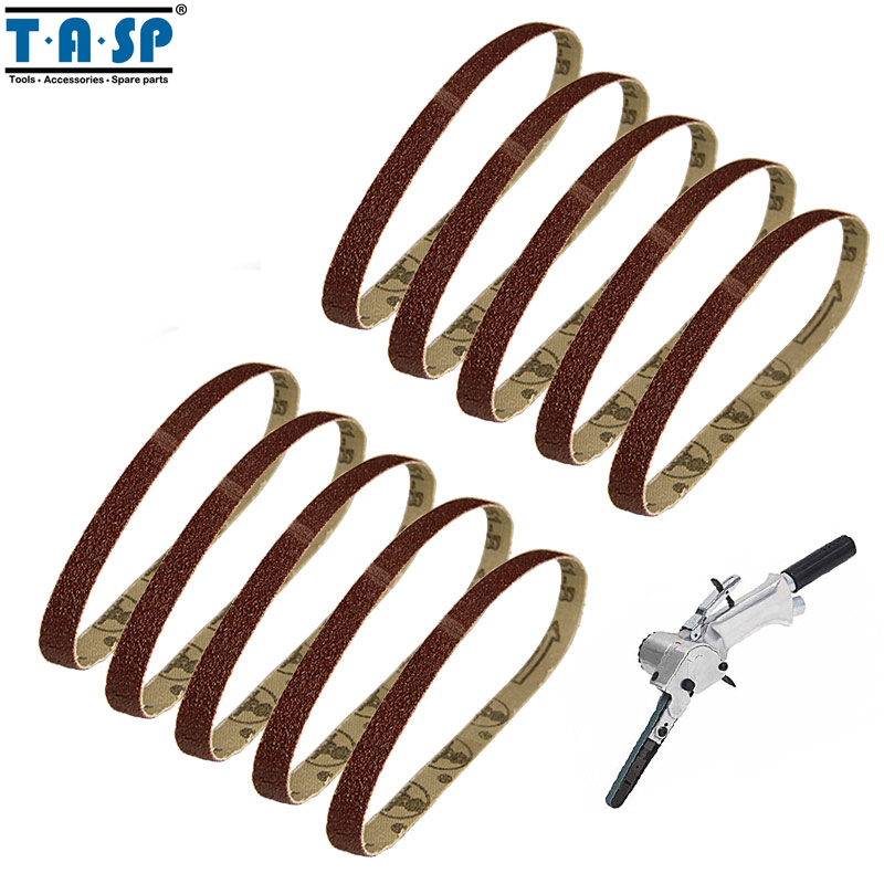 Tasp 10pcs 10x330mm Abrasive Sanding Belt 3/8x13 Belt Sander Sandpaper Aluminium Oxide Woodworking Power Tool Accessories Tools