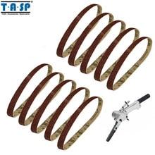 TASP 10pcs 10x330mm Abrasive Sanding Belt 3/8x13 Sander Sandpaper Aluminium Oxide Woodworking Power Tool Accessories