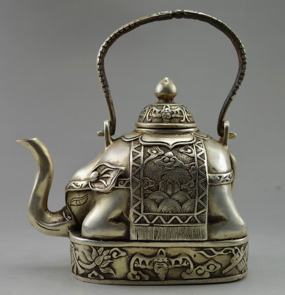 BRASS Decorated Old Handwork Tibet Silver Carve Flower Elephant Tea pot Pot  shipping  tools wedding Decoration Brass|brass decor|silver flower pot|silver tea pots - title=