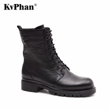 KvPhan Shoes woman genuine leather Ankle boots flats Low heels shoes Autumn boots Suede leather Cross-tied Decoration Zip Shoes