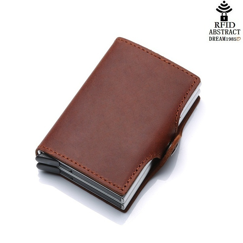 2019 RFID portefeuille vintage hommes en cuir véritable moraillon affaires porte-carte en Aluminium automatique de luxe femme Double couche sac à main classique - 5