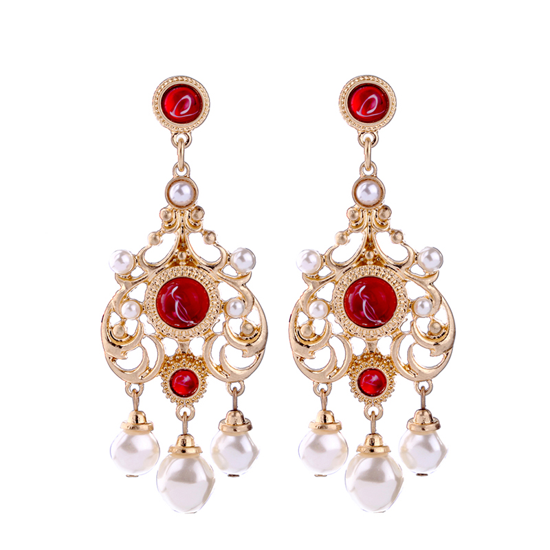 Us 2 33 30 Off Hollowed Alloy Simulated Pearl Earrings Online Ping India Fashion Patterned Red Hanging Jewelry In Drop From