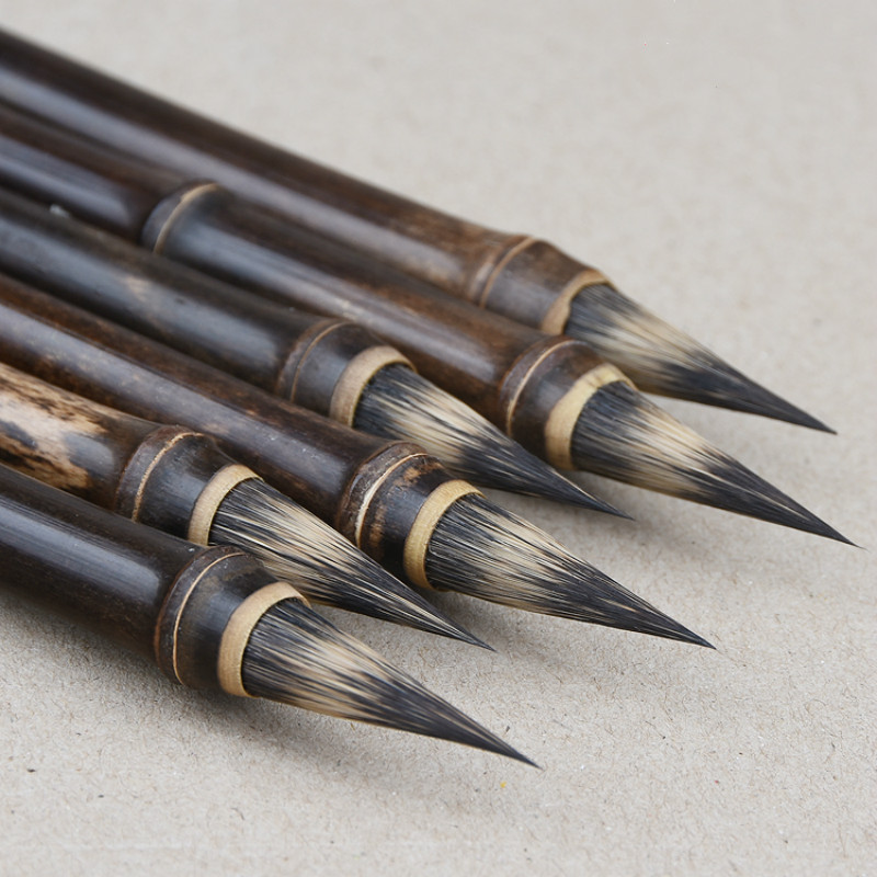 Luxurious Purple Rabbit Hair Chinese Calligraphy Brush Pen Ancient Bamboo Small Regular Script Writing Drawing Brush Stationery