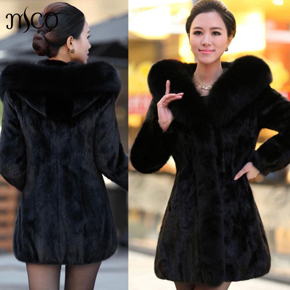 2018 Top Fashion Fur Vesta New Winter Women Faux Fur Coat Středně dlouhá imitace Králík s kapucí Bold Plus velikost 2xl