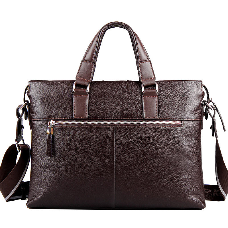 P.kuone  cowhide leather Shoulder Bag leisure men's bag business messenger portable briefcase Laptop large Purse P630181