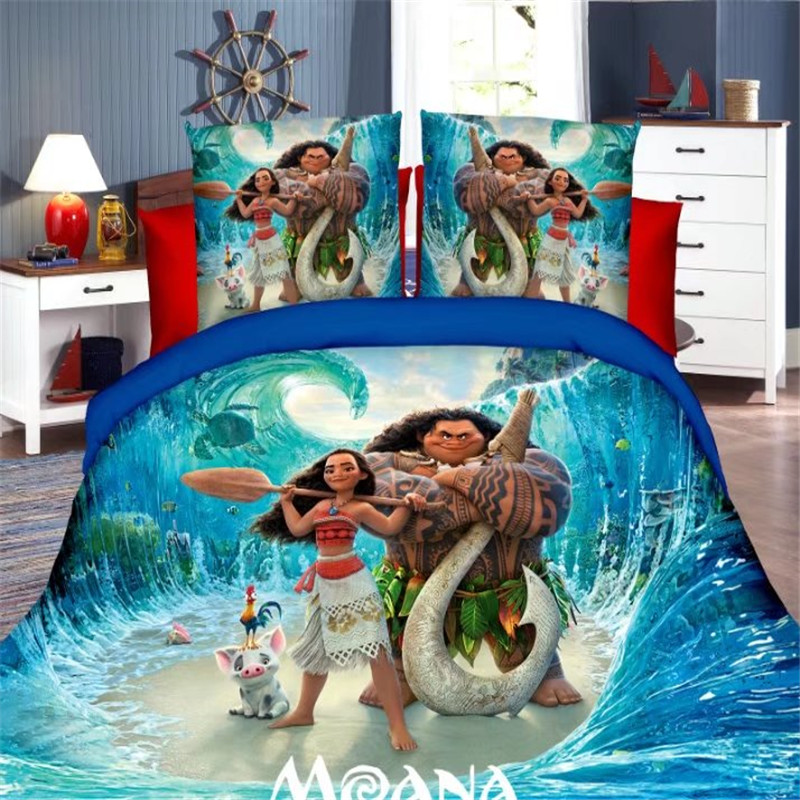 Disney moana princess girls bedding set duvet cover bed - Housse de couette disney princesse ...