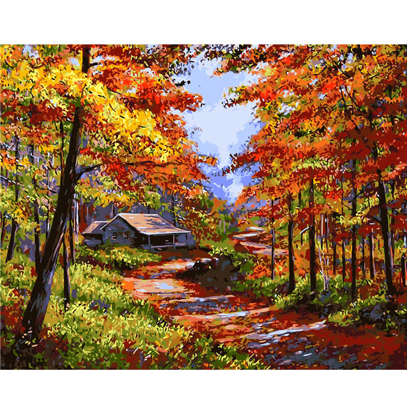 Frameless Picture Golden Fall Landscape Painting By Numbers Decoration Pictures Canvas Painting cuadros Hand Painted Oil Paintin