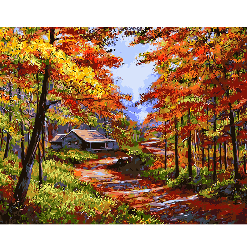 Frameless Picture Golden Fall Landscape Painting By Numbers Decoration  Pictures Canvas Painting Cuadros Hand Painted Oil Paintin In Painting U0026  Calligraphy ...