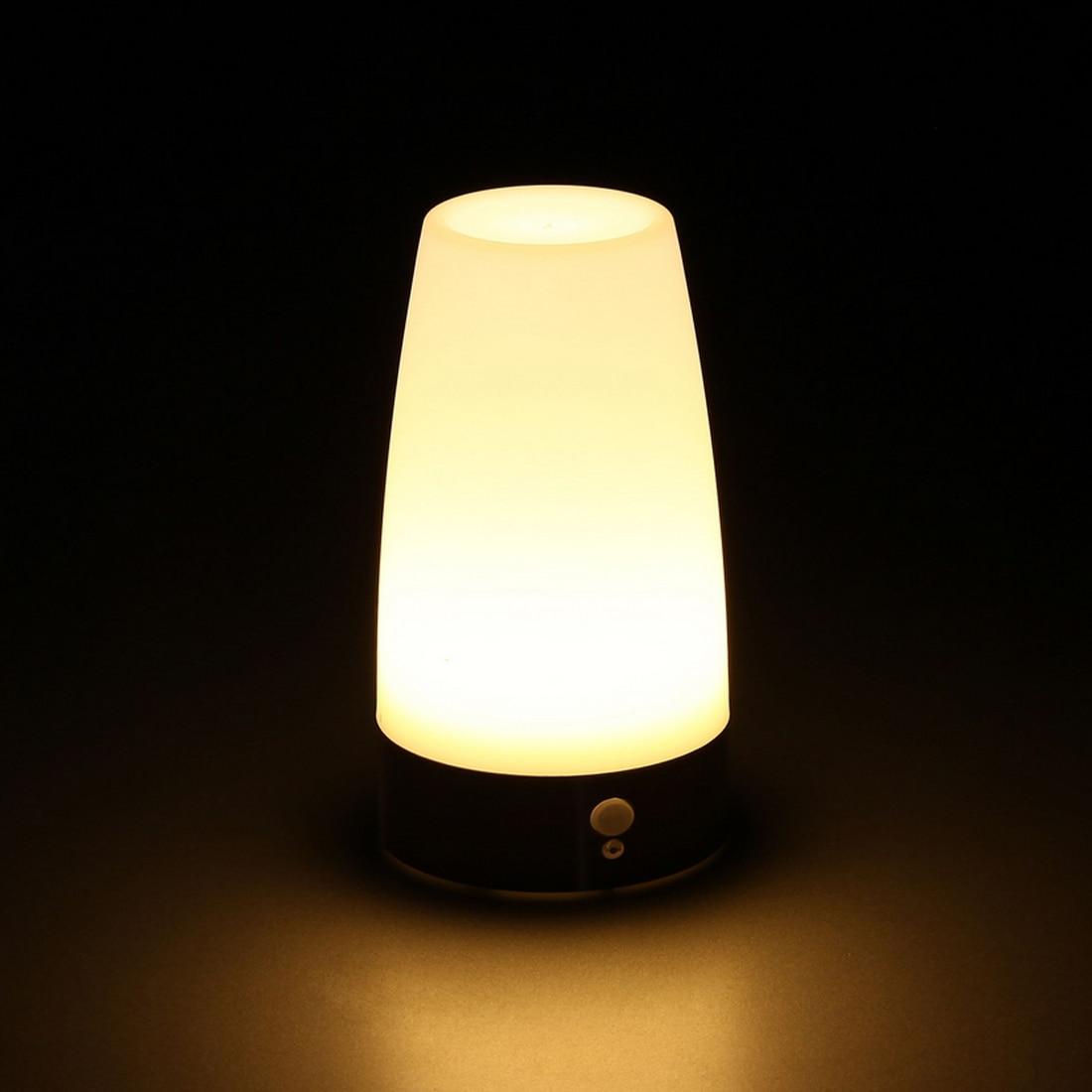 Offre spéciale PIR sans fil détecteur de mouvement LED rétro chambre veilleuse LED à piles lampe de Table veilleuse
