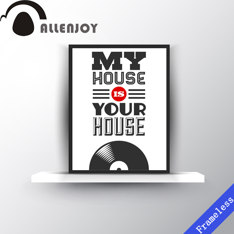 Modern Quotes My House Is Your Music Inspirational Print Poster Wall Picture Canvas Painting Bedroom Home Decor Frameless In Calligraphy
