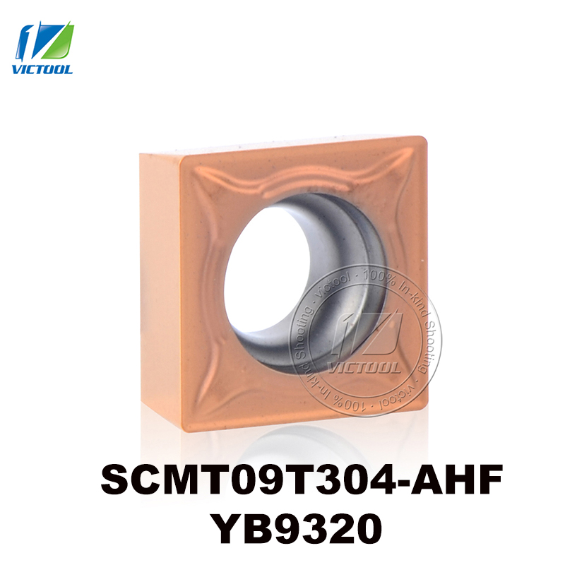 SCMT09T304-AHF YB9320 volframo karbido tekinimo įdėklas CNC įrankis nerūdijančio plieno pusgaminiams ir apdailai SCMT 09T304