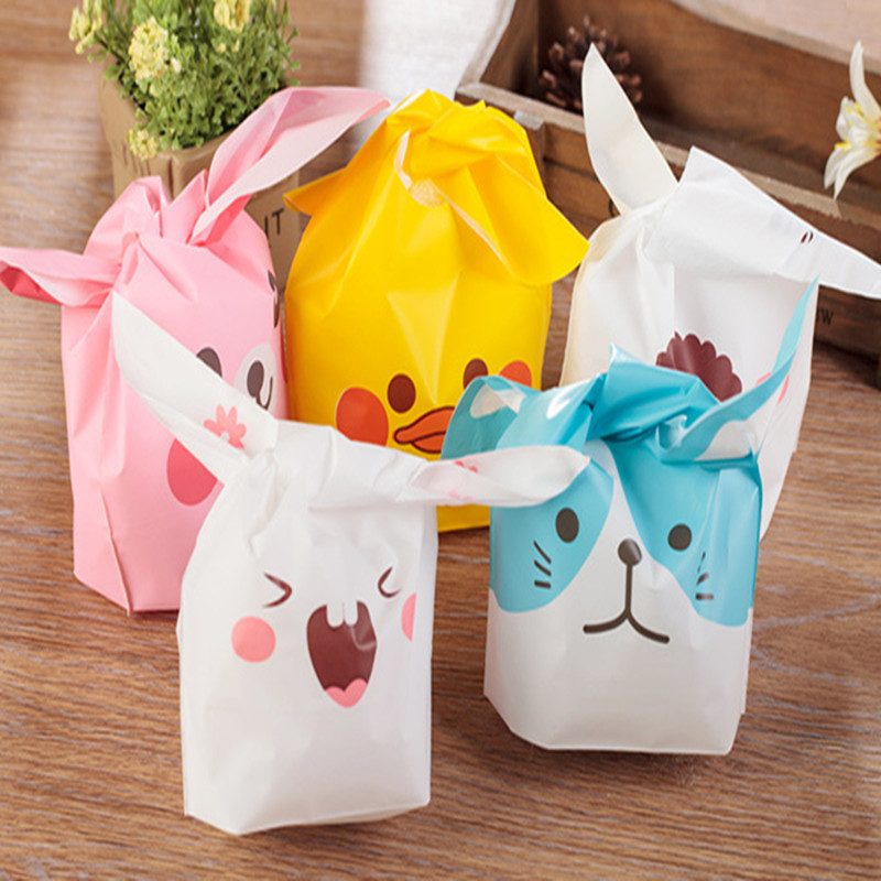 20pcs/lot  cute rabbit ear cookie bags Self-adhesive Plastic Bags for Biscuits Snack Baking Package food bag number