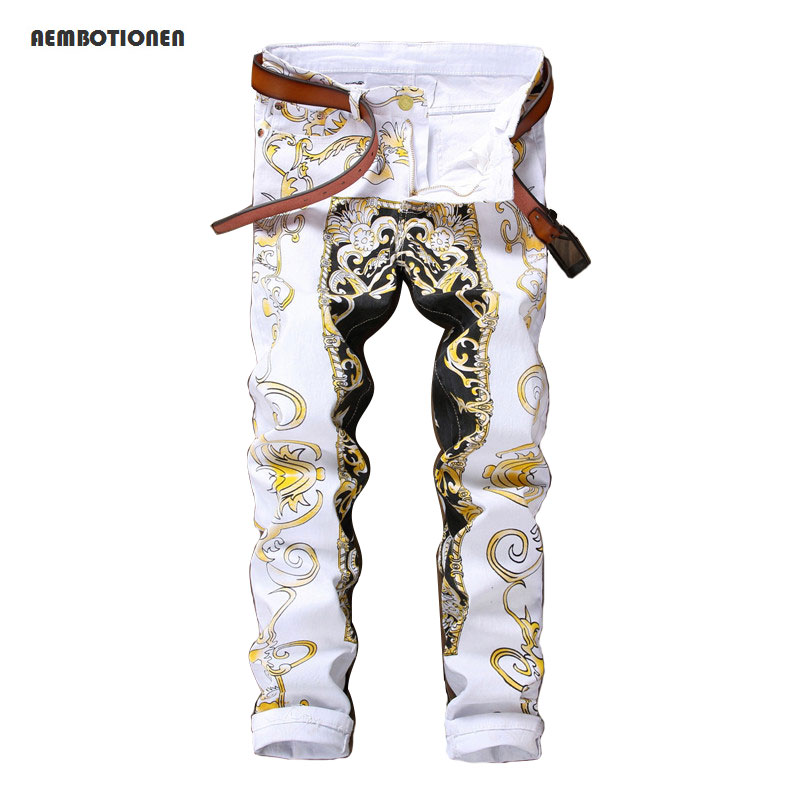 New 2017 Men`s Printed Jeans Pants Punk Style Gothic Painted DJ club Night Slim Leg Cool White Jeans For Young Men charter club women s comfort waist slim leg pants 18 warm toffee