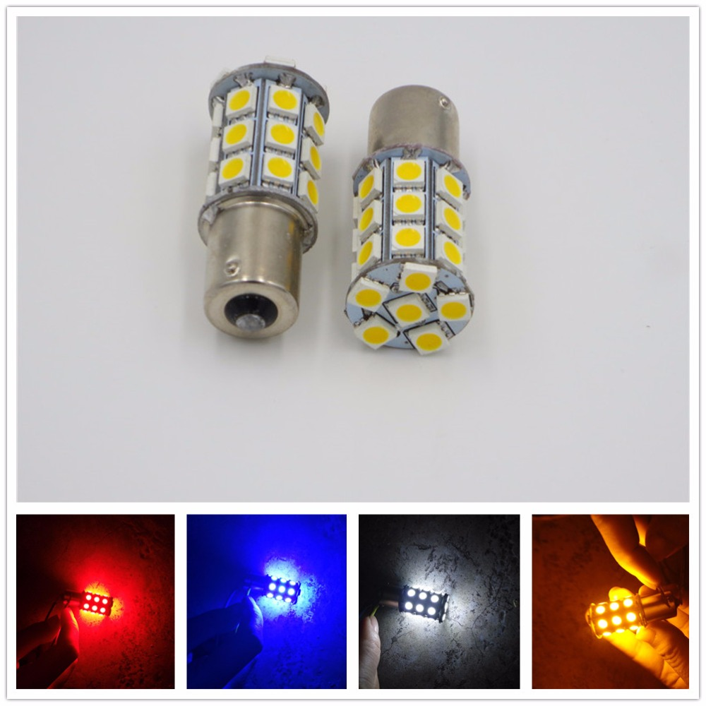 CYAN SOIL BAY 2X LED Car Bulb 1156 S25 Ba15s P21W 27SMD 27 SMD 5050 Backup Turn Signal Blinker Tail Light Lamp White Blue Amber
