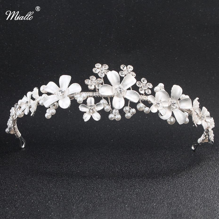 Miallo Bridal Wedding Crystal Rhinestone Hair Headband Crown Tiara Wedding Pearl Tiara Ivory White Jewelry Decorations for Hair