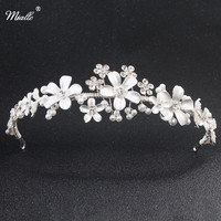 Miallo Bridal Wedding Pha Lê Rhinestone Tóc Headband Thái Tiara Wedding Vương Miện Ngọc Trai Màu Trắng Ngà Trang Trí Đồ Trang Sức cho Tóc