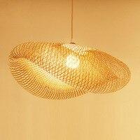 Современные светодиодный деревянная свисающая лампа Bamboo Кухня светильники светодиодный подвесной светильник Подвеска домашние Обеденная