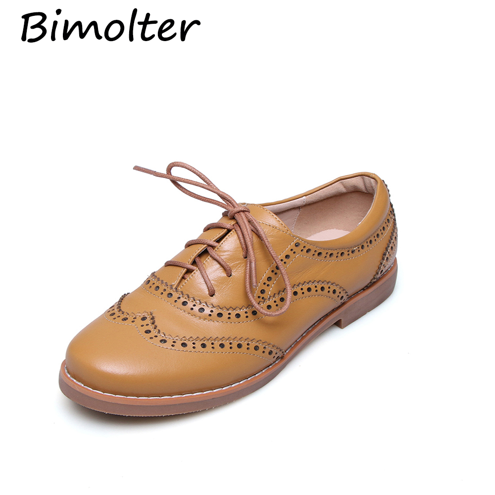 Bimolter Zapatos planos de cuero genuino Mujer Cuero de vaca Brogue - Zapatos de mujer