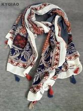 Фотография Mexico style vintage design long print scarf for women spring autumn bohemian ethnic tassels scarves cape shawl wrap muffler