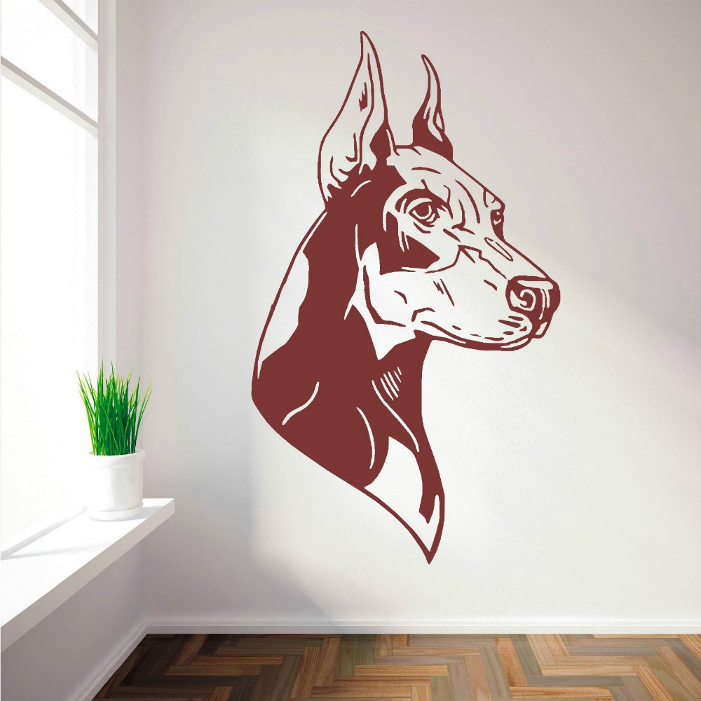 Hot selling home wall decorative wall decal doberman dog right and left wall sticker vinyl wall mural for bedroom decor y 683 in wall stickers from home
