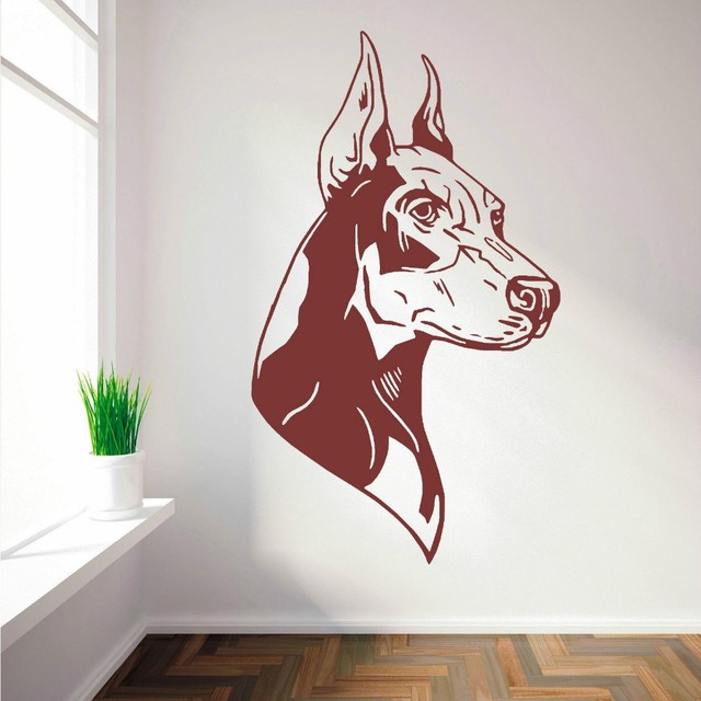 Hot Selling Home Wall Decorative Wall Decal Doberman Dog Right And Left Wall Sticker Vinyl Wall Mural For Bedroom Decor Y-683