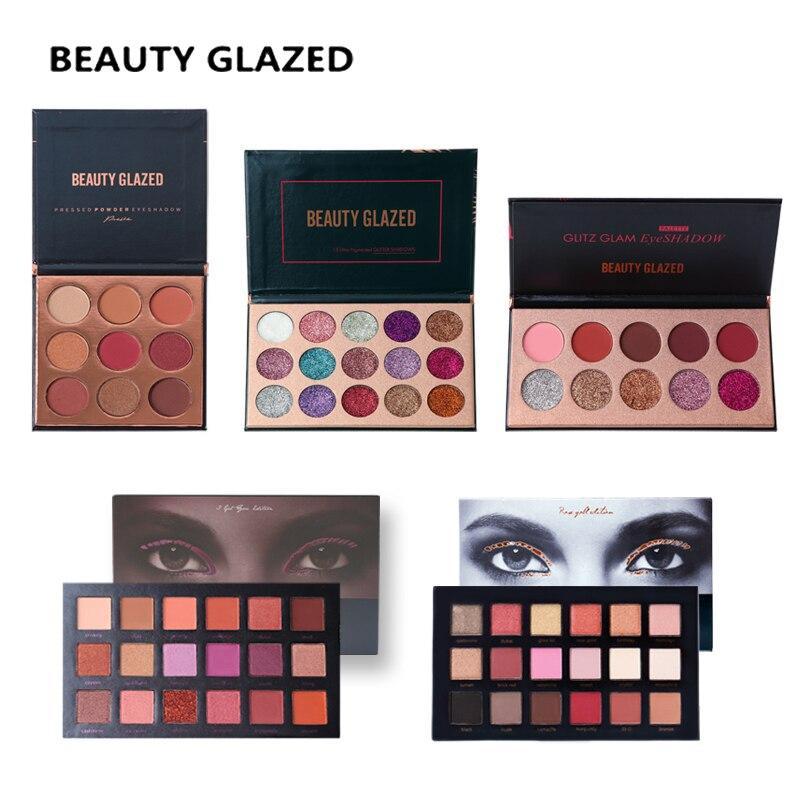 Belleza esmaltado Glitte sombra paleta maquillaje sombra de ojos paleta de larga duración fácil de usar sombra de ojos mate Shimmer sombras