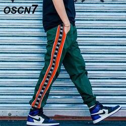 OSCN7 свободные полосы для отдыха пот Штаны Для мужчин 2019 уличной моды обычная, высокая, на выход в стиле пэчворк брюки мужские K168