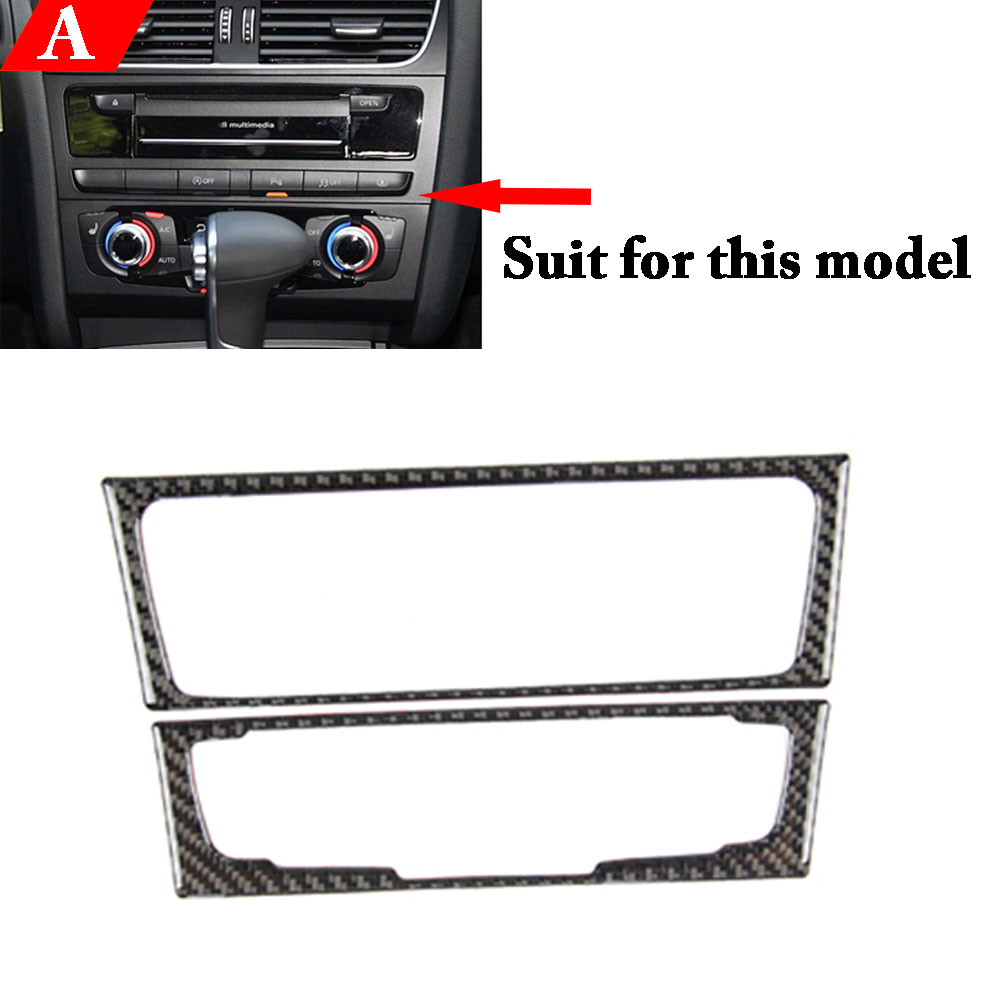 New Arriving Carbon fiber font b Interior b font Control CD Panel Cover Trim For Audi