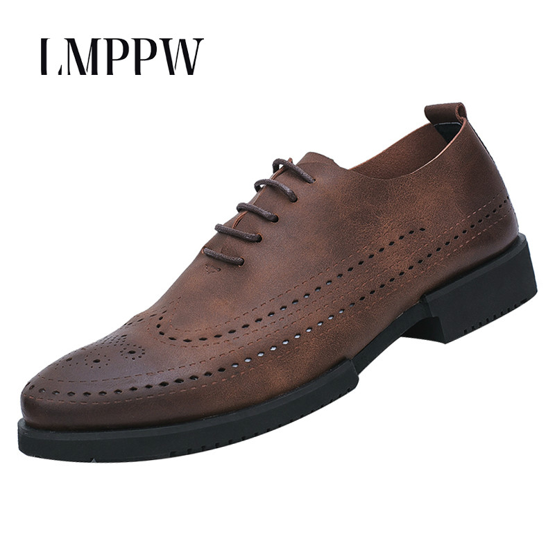 Top Quality Fashion Men's Shoes Genuine Leather Brogue Shoes 2018 Fashion Lace Up Men Casual Soft Leather Shoes Black Brown 2A top brand high quality genuine leather casual men shoes cow suede comfortable loafers soft breathable shoes men flats warm