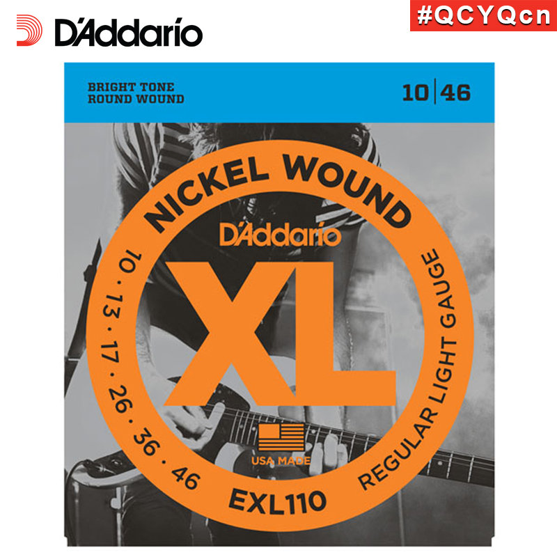 D'Addario Daddario EXL110 American Made Nickel Wound Electric Guitar Strings, Regular Light, 10-46 d addario daddario exl110 american made nickel wound electric guitar strings regular light 10 46