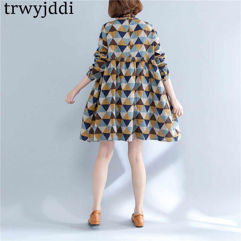 Женская одежда на весну и осень, большие размеры, женское платье в шахматную клетку, свободное хлопковое льняное платье, женская рубашка с длинным рукавом, платья трапециевидной формы hl084