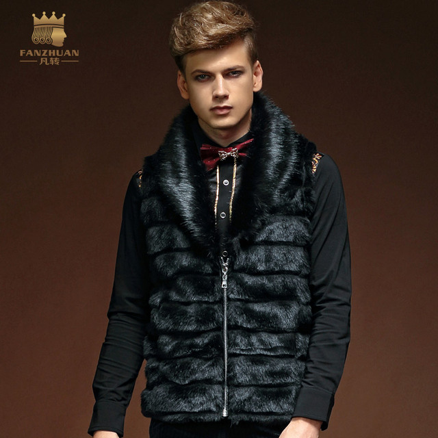 Free Shipping New fashion casual male Men's winter 2014 Autumn men's Fur Vest Mens thermal slim zipper jacket 14607 fanzhuan