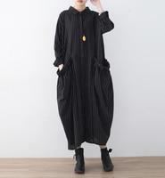 2018 Fashion Spring Women Striped Dress Women Turn Down Collar Long Sleeve Buttons Shirt Dress Black
