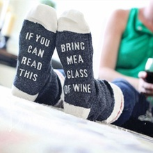 Custom wine font b socks b font If You can read this Bring Me a Glass