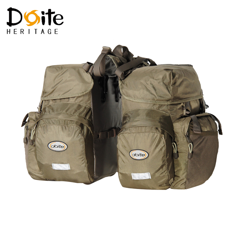 DOITE Bicycle Pannier Bags High Quality Nylon 50L Bike Rack Bag 2 in 1 Multifunction MTB Mountain Road Bike Rear Seat Trunk Bag roswheel 50l bicycle waterproof bag retro canvas bike carrier bag cycling double side rear rack tail seat trunk pannier two bags