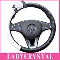 Ladycrystal 15 Polegada de Direcção Do Carro Tampa Da Roda de Couro de Alta Qualidade PU Camélia Volante Cobre Estilo Do Carro Auto Acessórios