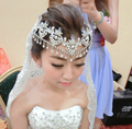 2014 Luxury Rhinestone Vintage Wedding Pearl  Hair Jewelry Bridal Hair Accessories Forehead Jewelry Wedding Crown Free Shipping