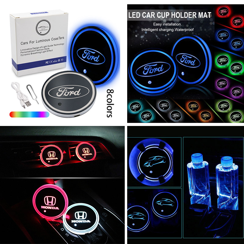 2Pcs Universal Led Cup Holder Car Water Wine Drinking Cup Coaster USB Charging Mat Luminescent Cup Pad Car Interior Accessories