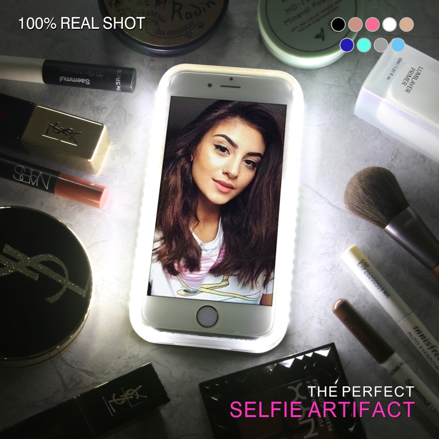 LED Phone Case for iPhone 6 6S 7 Plus Flash Selfie Light Up Glowing Luxury Phone Cover For Apple i Phone 5 8 iphoneX Funda Coque
