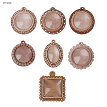 Wood Round Frame Blank Bezel Pendant Trays Round Cabochon Setting Jewelry Making Tool Accessories