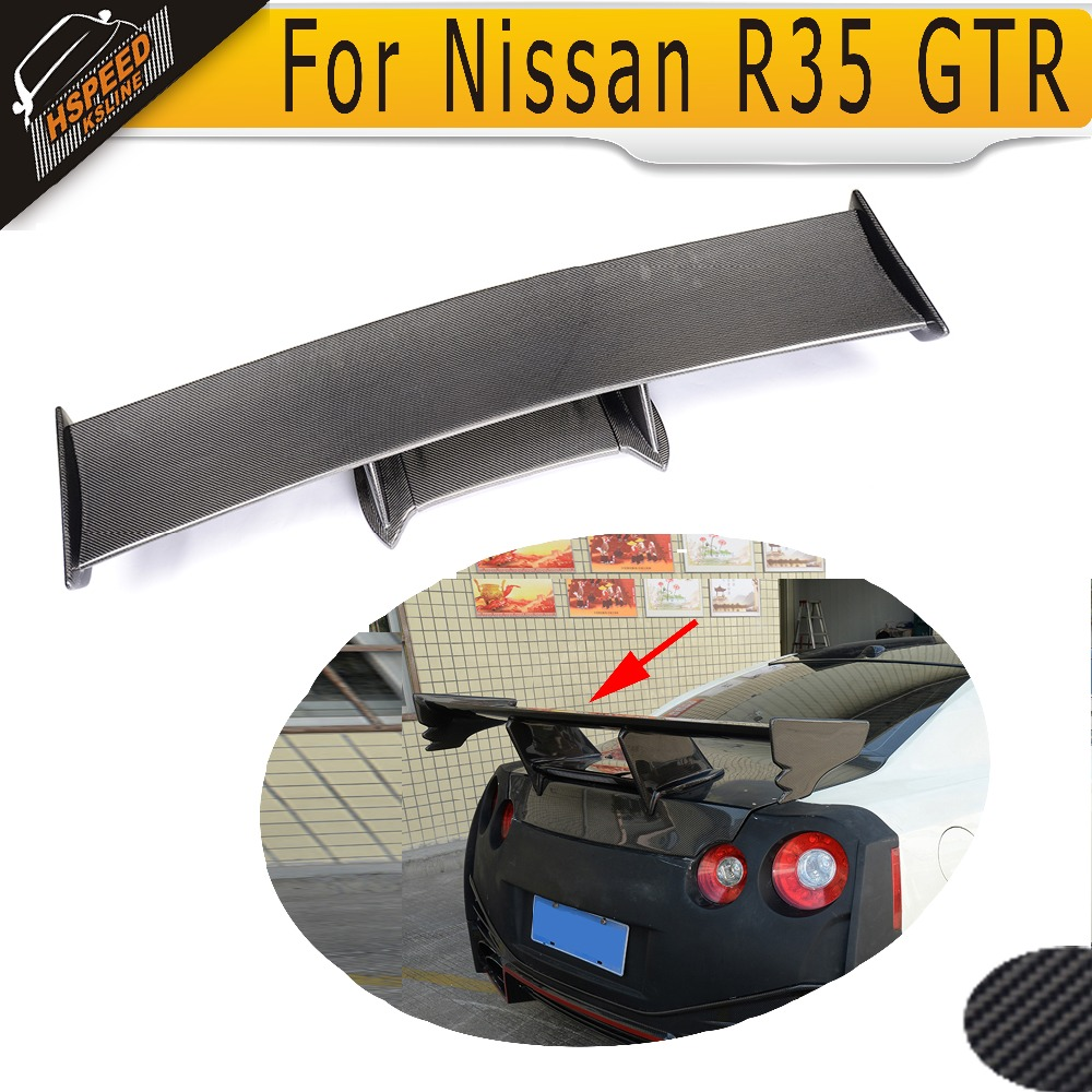 Carbon Fiber Trunk Wing <font><b>Spoiler</b></font> Car Roof <font><b>Spoiler</b></font> for Nissan <font><b>R35</b></font> GT-R <font><b>GTR</b></font> 2009 2010 2011 2012 2013 2014 2015 image