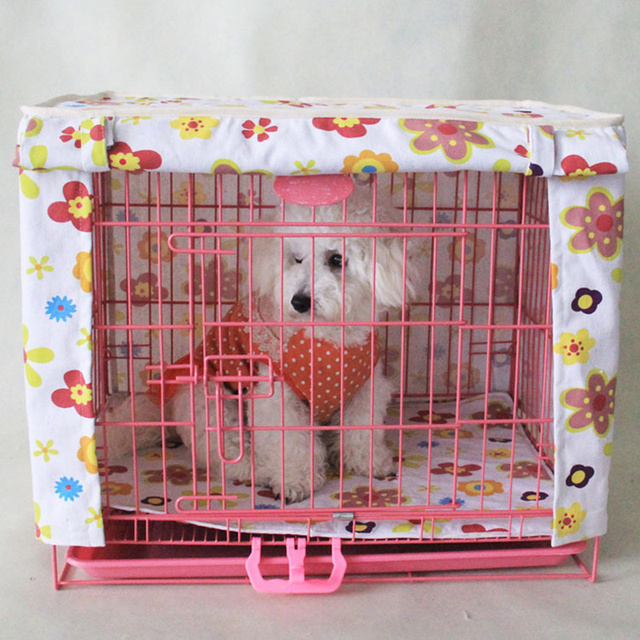 Pet Crate Cover Lightproof and Windproof Flower Print Striped Canvas Material Dog Kennel Cage Cover Send Mat Without Cage 3