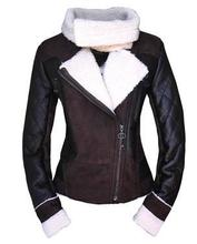 Black brown Diagonal zipper Motorcycle Europe fake fur coats jackets slim for the ladies coat winter gown leather-based jacket 3XL