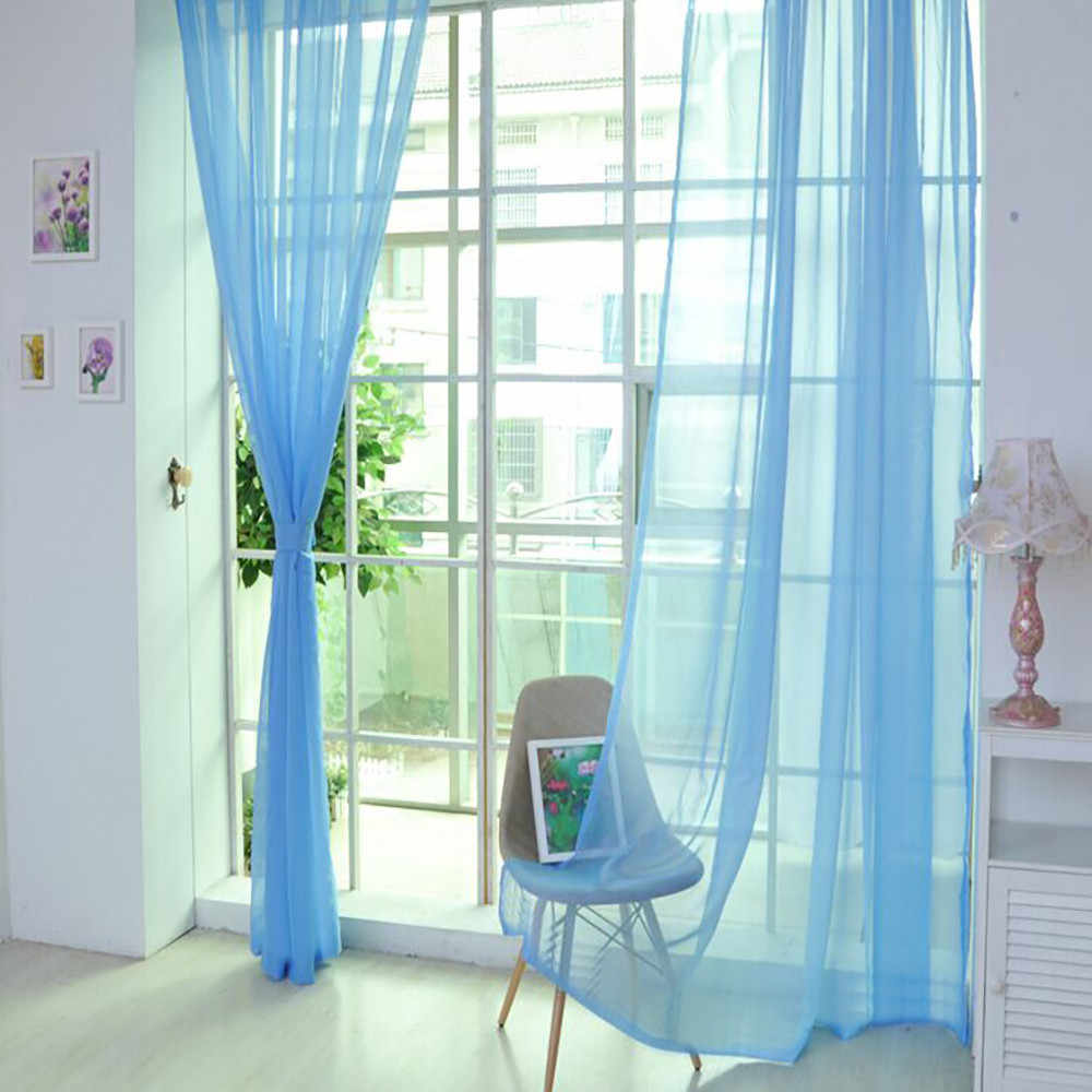 1pc stile Europeo e Americano Tulle tende per il salone Finestra di Screening 12 Solido Porta Tende Drape Pannello Cesoie